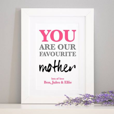 Personalised 'Favourite Mother' Print